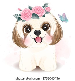 Cute little Shih Tzu with floral illustration