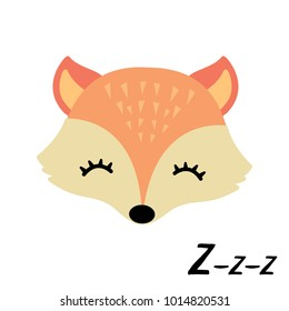 Cute little sleepy fox.Animal vector illustration