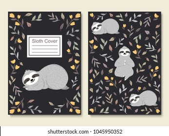 Cute little sloth sleeping among flowers and leaves. Set of cover, cards, poster, brochure templates with funny baby sloths relaxing in the forest. Adorable animal design. Vector illustration