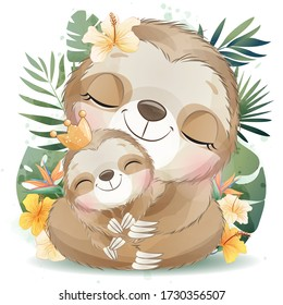 Cute little sloth with watercolor effect