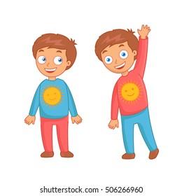 Cute little smiling boys twins