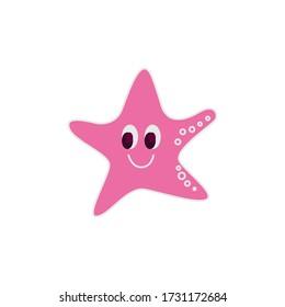 Cute little smiling seastar character, eps