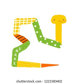 Cute little snake. Childish graphic. Vector hand drawn illustration.