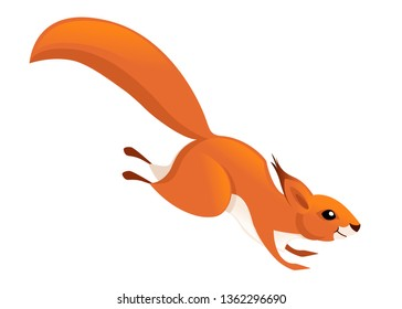 Cute little squirrel jumping down. Side view. Cartoon animal character design. Flat vector illustration isolated on white background.