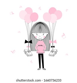 Cute little Student girl in pink and a book floating with balloons back to school, wall art poster vector design