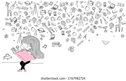 Cute little Student girl read a book icon back to school background design vector.