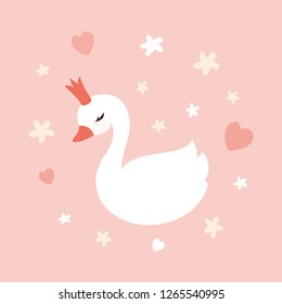 Cute little swan princess on pastel soft pink background. Design element for t-shirts, invitations, greeting cards.