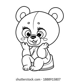 Cute little teddy bear sitting on the pot outline drawing for coloring on a white background