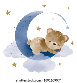 Cute little teddy bear sleeping on the moon, vector illustration, kids fashion artworks, baby graphics for wallpapers and prints.