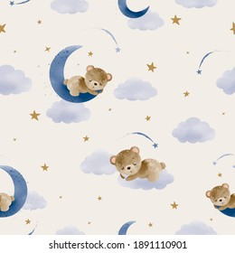 Cute little teddy bear sleeping on the moon seamless pattern design, vector illustration, kids fashion artworks, baby graphics for wallpapers and prints.