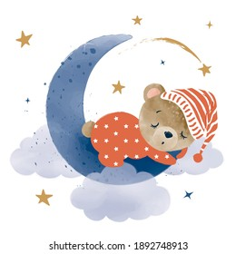 Cute little teddy bear sleeping on cloud, vector illustration, kids fashion artworks, baby graphics for wallpapers and prints.