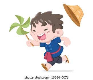 Cute little Thai farmer running, enjoy himself with leaf small windmill vector cartoon illustration