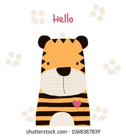 Cute little tiger with lettering. Vector hand drawn illustration.