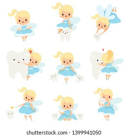 Cute Little Tooth Fairy with Baby Teeth Set, Lovely Blonde Fairy Girl Cartoon Character in Light Blue Dress with Wings Vector Illustration