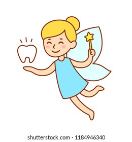 Cute little tooth fairy with wings, magic wand and a tooth. Isolated cartoon vector clip art illustration.