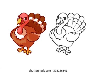 Cute little turkey. Cartoon vector character isolated on a white background with black outline.