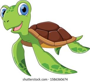 Cute little turtle cartoon swimming