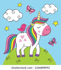 cute little unicorn with bird on meadow- vector illustration, eps