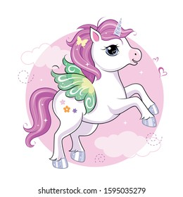 Cute little unicorn character with butterfly wings over pink round background. Vector.