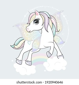 Cute little unicorn character with butterfly wings flying in the skies.