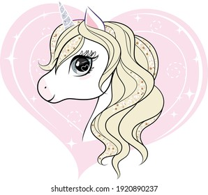 Cute little unicorn character over pink heart shape background. Vector illustration isolated on white background.