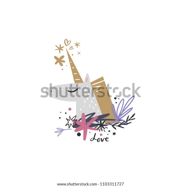Cute little unicorn face, magic art. Magical print. Vector and jpg image. Clipart, isolated details, handcrafted.