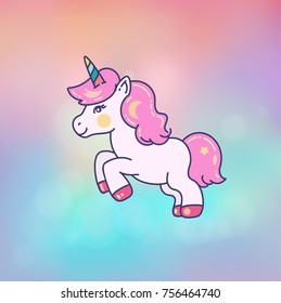 Cute little unicorn on blurred background
