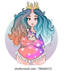 Cute little unicorn princess chubby girl with bunny, children vector illustration art