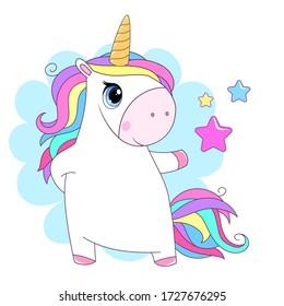 Cute little unicorn with rainbow hair. Vector cartoon illustration