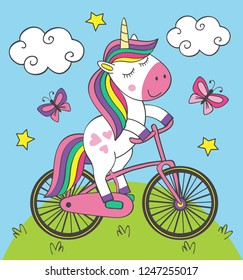 cute little unicorn rides bicycle - vector illustration, eps