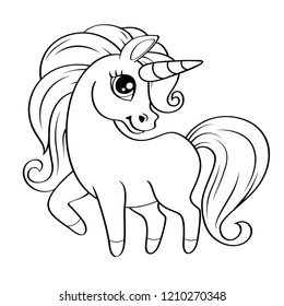 Cute little unicorn. Vector black and white illustration for coloring book