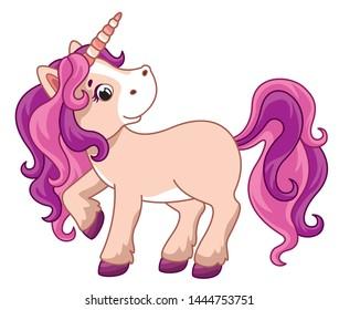 Cute little unicorn. Vector cartoon pony. Vector illustration for children
