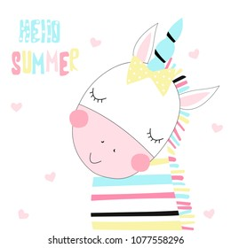 Cute little unicorn zebra with quote. Vector hand drawn illustration.