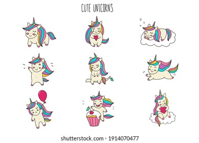 Cute little unicorns. 9 different characters of sweet unicorns. Ideal for stickers, icons, banners, posters, greeting cards, baby showers, Valentine, celebrations, birthday.