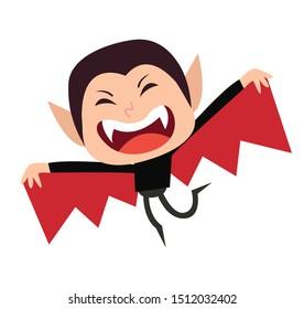 Cute little vampire kid vector cartoon character. Kid in halloween costume.