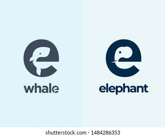 Cute Little Whale and Elephant Silhouettes Incorporated in the Letter E. Abstract Vector Logo Templates, Signs or Icons. Negative Space Mammals Concept with Modern Typography. Isolated.