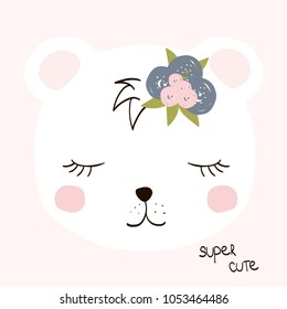 Cute little white bear with lettering. Vector hand drawn illustration.