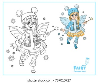 Cute little winter fairy girl with a Magic wand color and outlined picture for coloring isolated on a white background