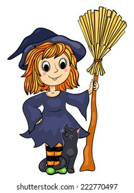 Cute little witch with a cat and broom. Cartoon vector illustration. Isolated on white.