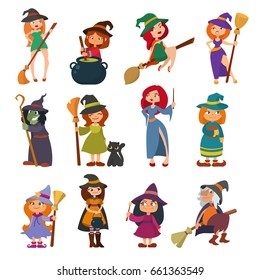 Cute little witch hag harridan vixen with broom cartoon magic Halloween young girls character costume hat vector illustration.