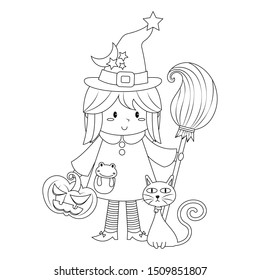 Cute little witch holding a broom with jack o lantern, black cat, and frog vector illustration isolated on white background. Cute halloween witch cartoon colorless for coloring book.