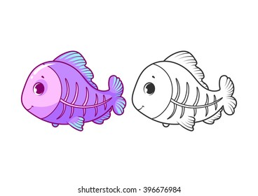 Cute little x-ray fish. Cartoon vector character isolated on a white background with black outline.