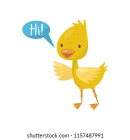 Cute little yellow duckling character saying Hi vector Illustration on a white background