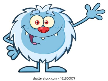 Cute Little Yeti Cartoon Mascot Character Waving For Greeting. Vector Illustration Isolated On White Background