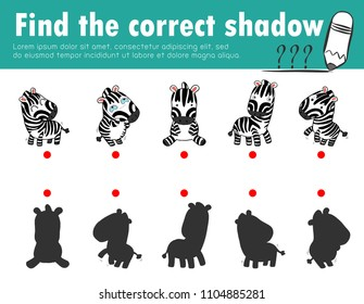 Cute little zebra,Find the correct shadow. Educational game for children, Shadow Matching Game for kids, Visual game for kid. Connect the dots picture,Education Vector Illustration.
