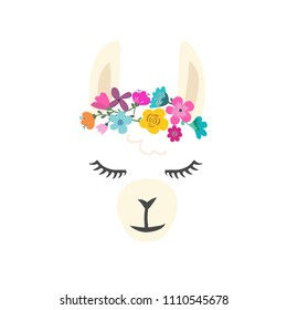 Cute llama alpaca character vector graphic design. Cartoon llama head with flower crown illustration for card and shirt design