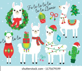 Cute llama and alpaca with Christmas holidays theme vector illustration. Llama wearing Santa hat and sweater, carrying Christmas gifts. Llama with Christmas wreath and light. Cactus with Santa hat.