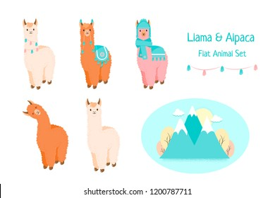 Cute llama or alpaca flat characters set for nursery design, poster, banner, logo, icon, greeting card, sticker. Baby llama or little alpaca with mountains. Cartoon animal in scarf and with pompons