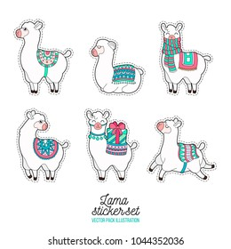Cute llama and alpaca sticker. Funny lama patches. Cartoon lama character vector illustration.