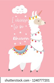 Cute Llama Alpaca with unicorn horn, Llamacorn. Vector illustration